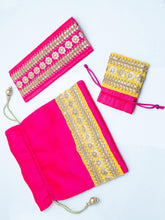 Load image into Gallery viewer, Pink and Yellow Combo Potli Bag Set