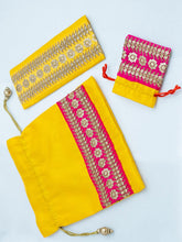 Load image into Gallery viewer, Yellow and Pink Combo Potli Bag Set
