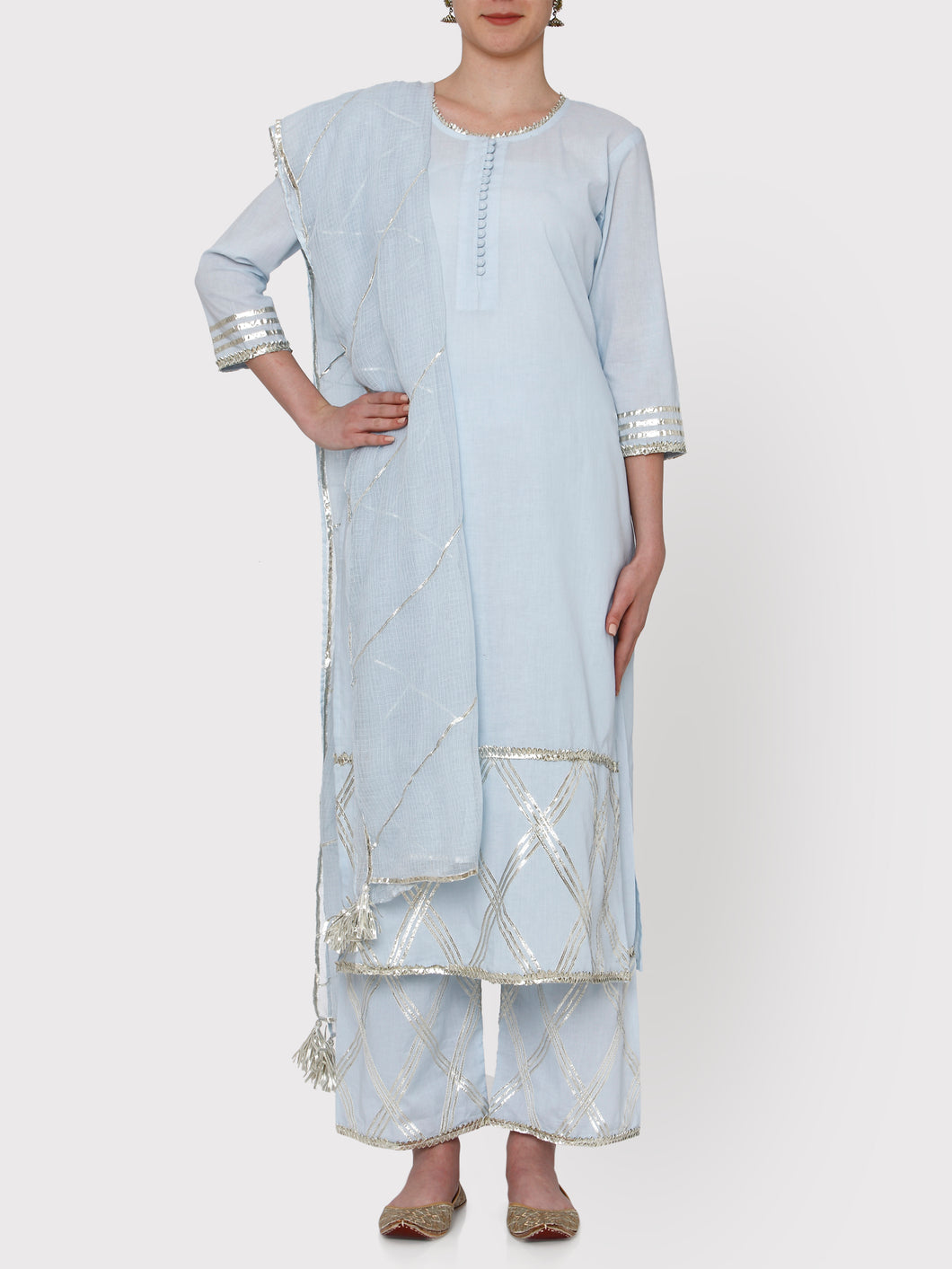 Powder Blue Kurta Set with Dupatta