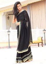 Load image into Gallery viewer, Pure Georgette Mirror Work Black Saree with Unstitched Blouse