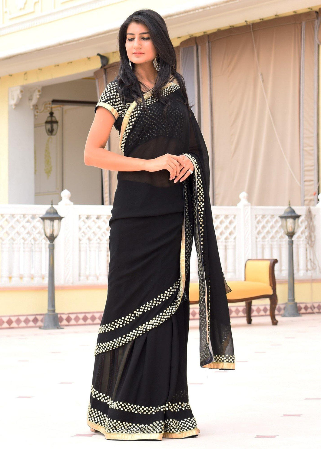 Pure Georgette Mirror Work Black Saree with Unstitched Blouse