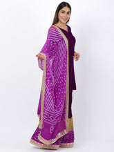 Load image into Gallery viewer, Purple Bandhani Palazzo Set with Dupatta
