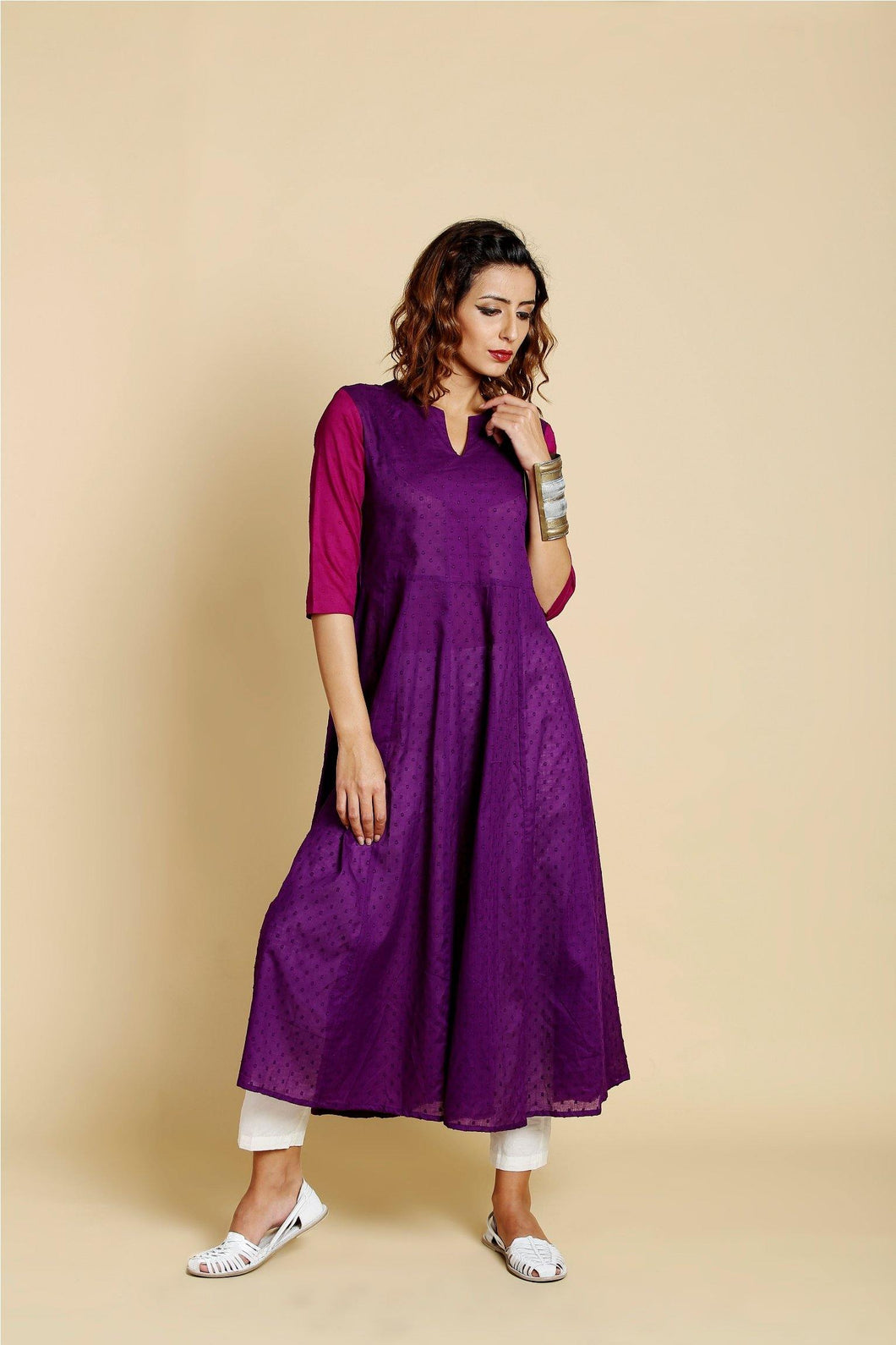 Purple Flared Anarkali Kurta