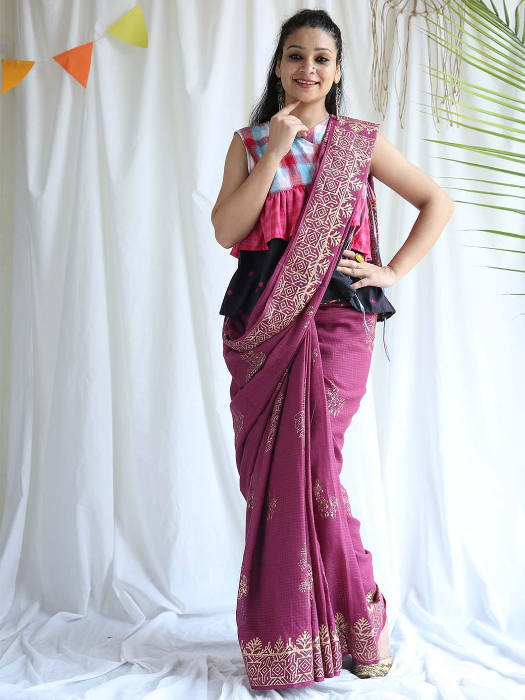 Purple Golden Printed Saree