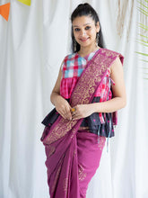 Load image into Gallery viewer, Purple Golden Printed Saree