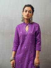 Load image into Gallery viewer, Purple Solid Kurta Pant Set