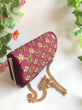 Load image into Gallery viewer, Purple Velvet Nakshi Clutch