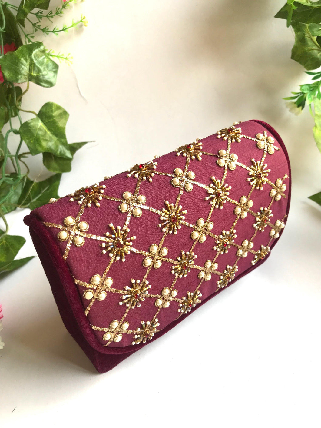 Purple Velvet Nakshi Clutch