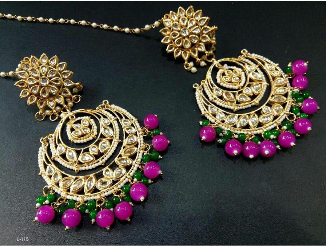 Rani Pink and Green 3 Layered Chandbalis