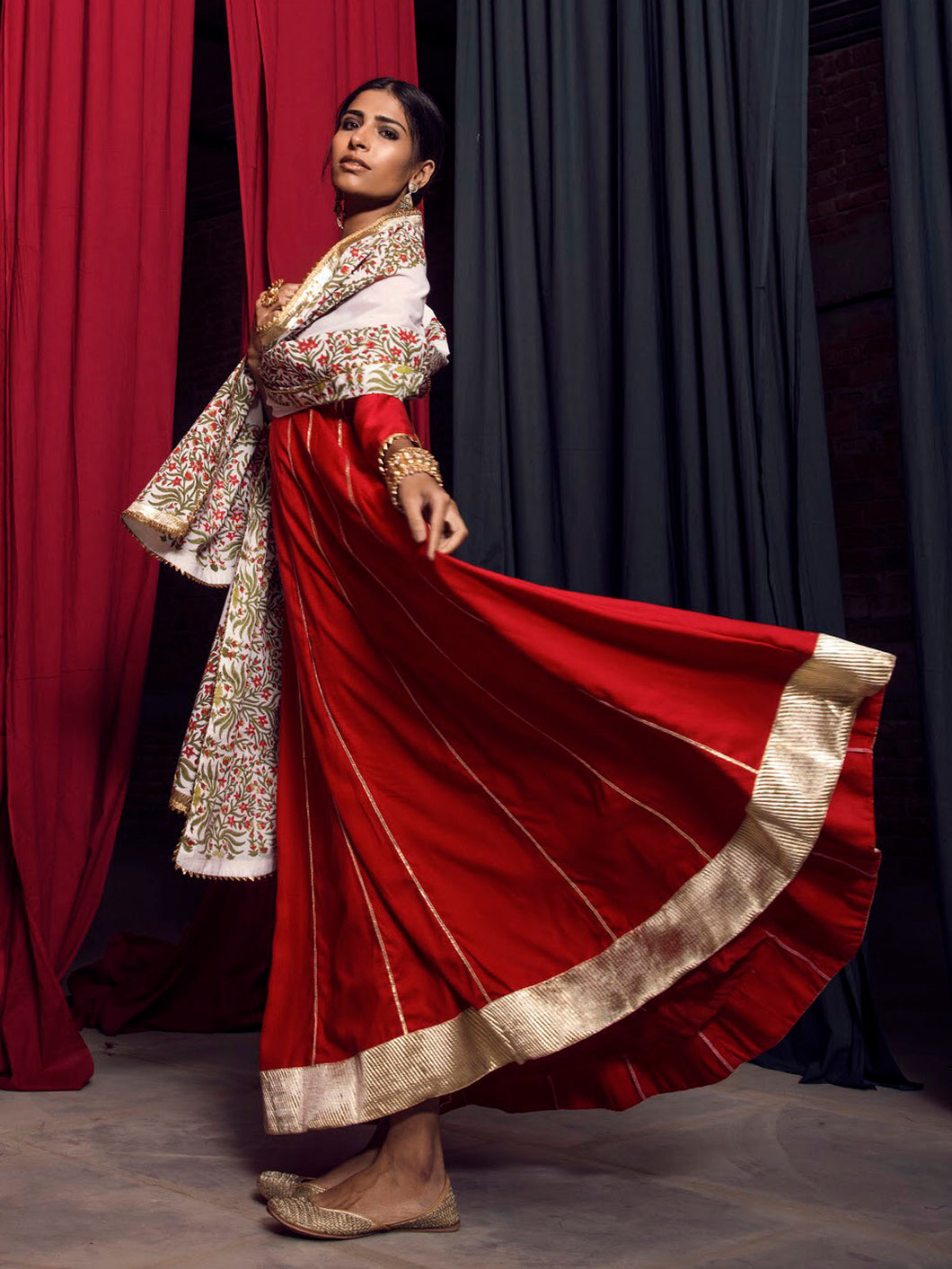 Red And Gold Gota Anarkali With Block Printed Dupatta