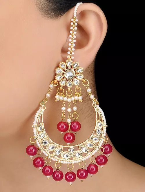Red beads and Kundan Chandbali Earrings