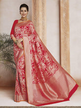 Load image into Gallery viewer, Red Dazzling Printed Saree - The Wedding Brigade