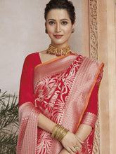 Load image into Gallery viewer, Red Dazzling Printed Saree