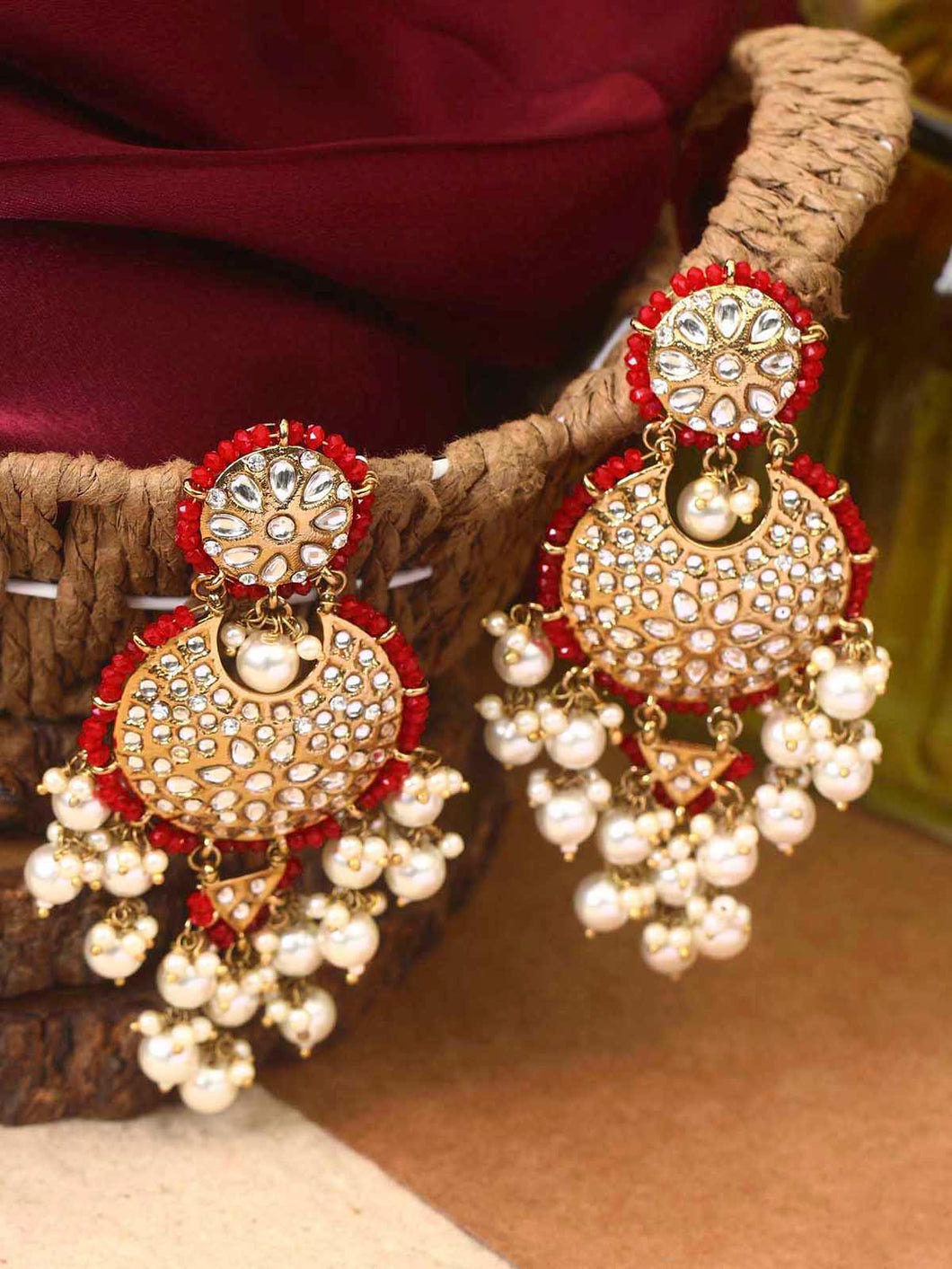 Red Earrings with Beads