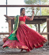 Load image into Gallery viewer, Red Flared Lehenga Set with Silk Unstitched Blouse