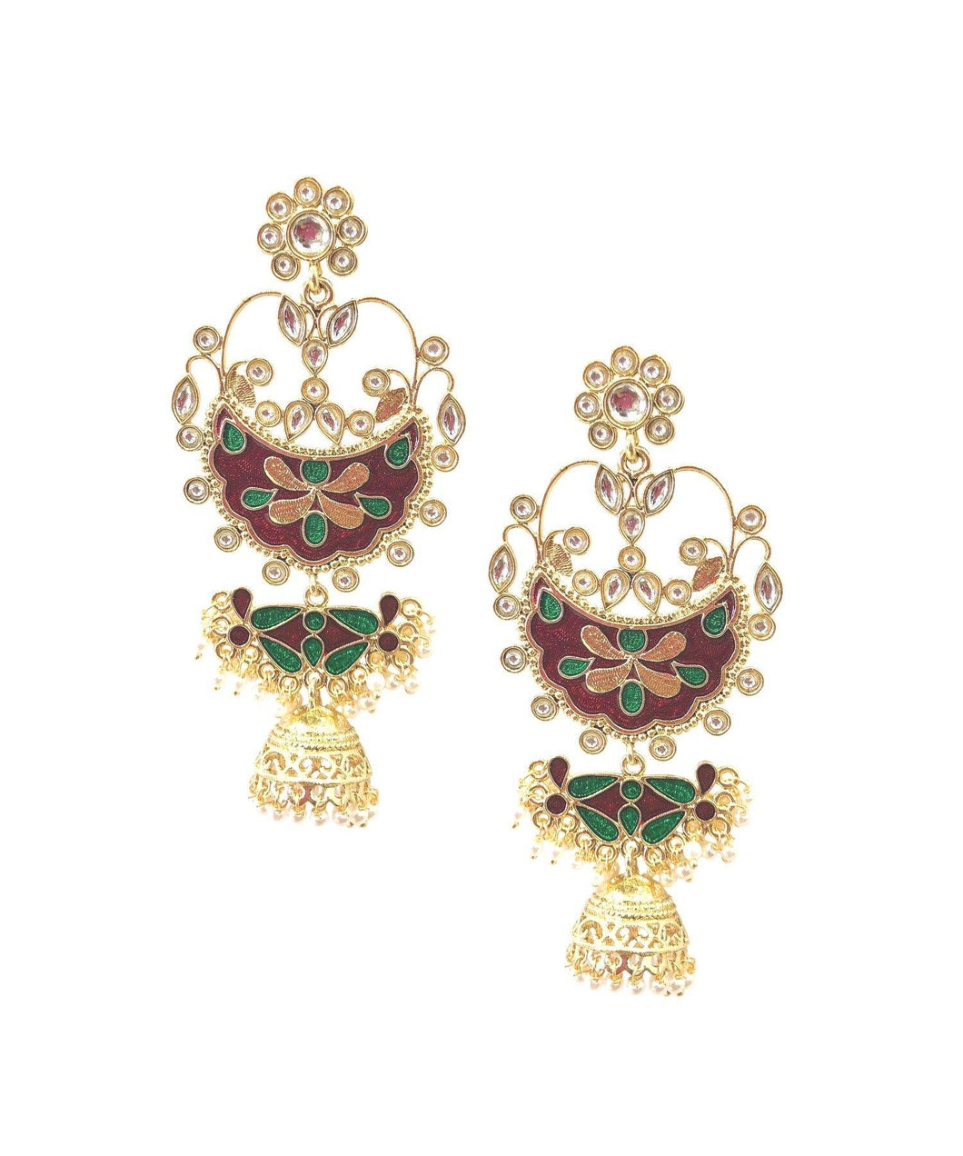 Red Green Pearl Jhumkas - The Wedding Brigade