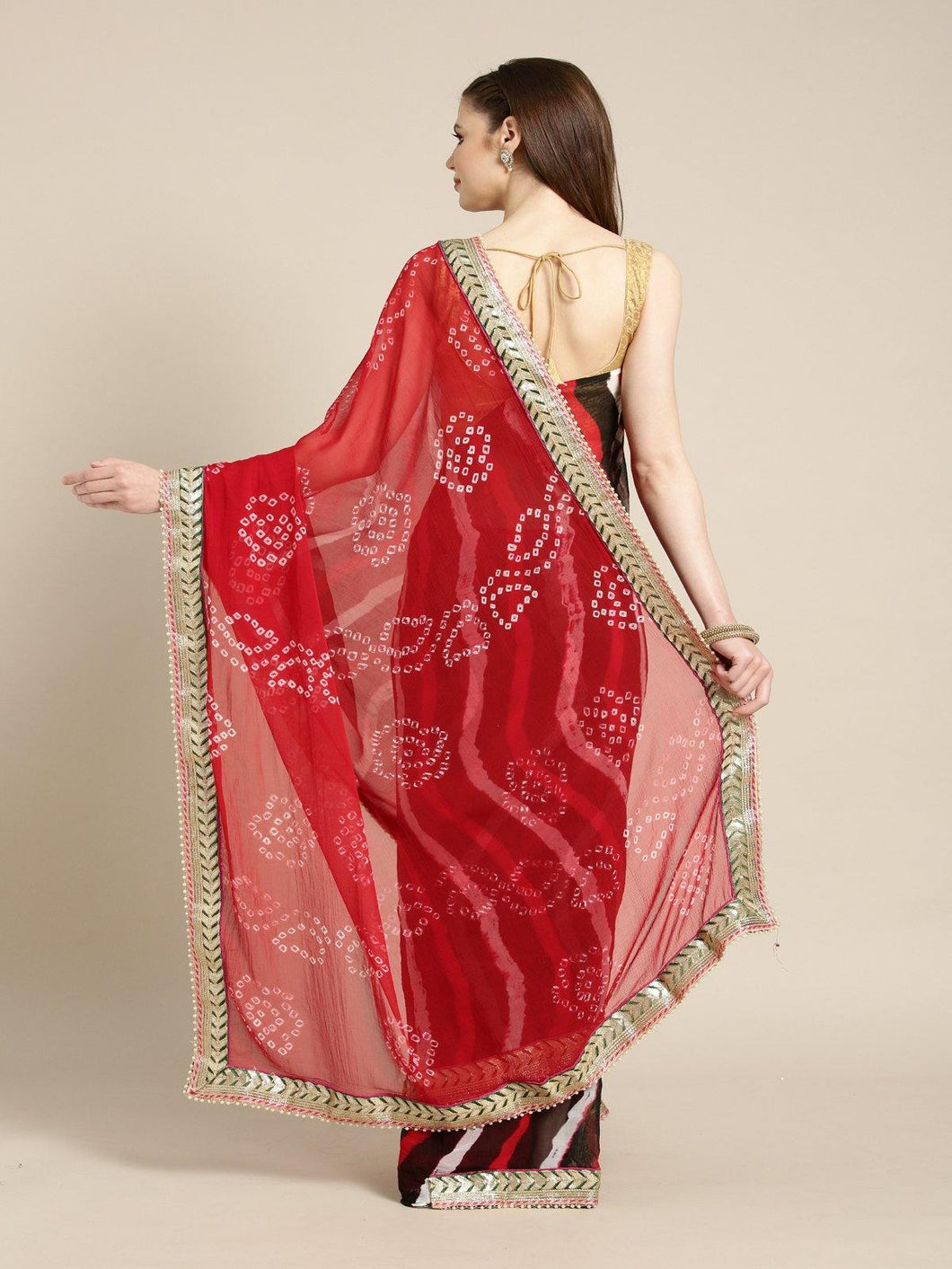 Red Hand Dyed Chiffon Saree