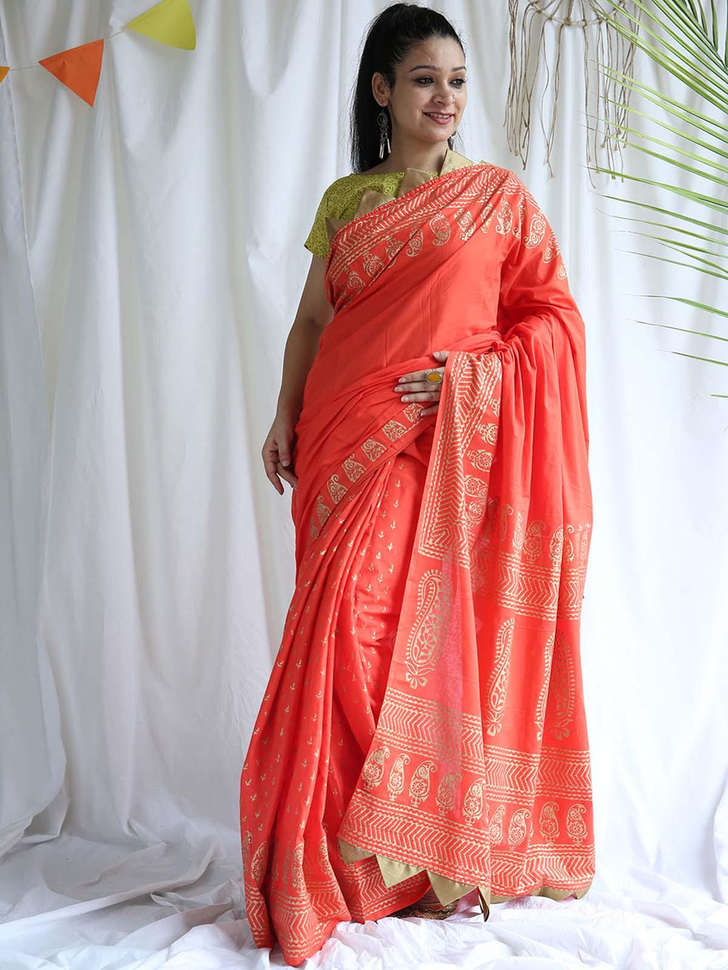 Red Paisley Hand Block Printed Saree