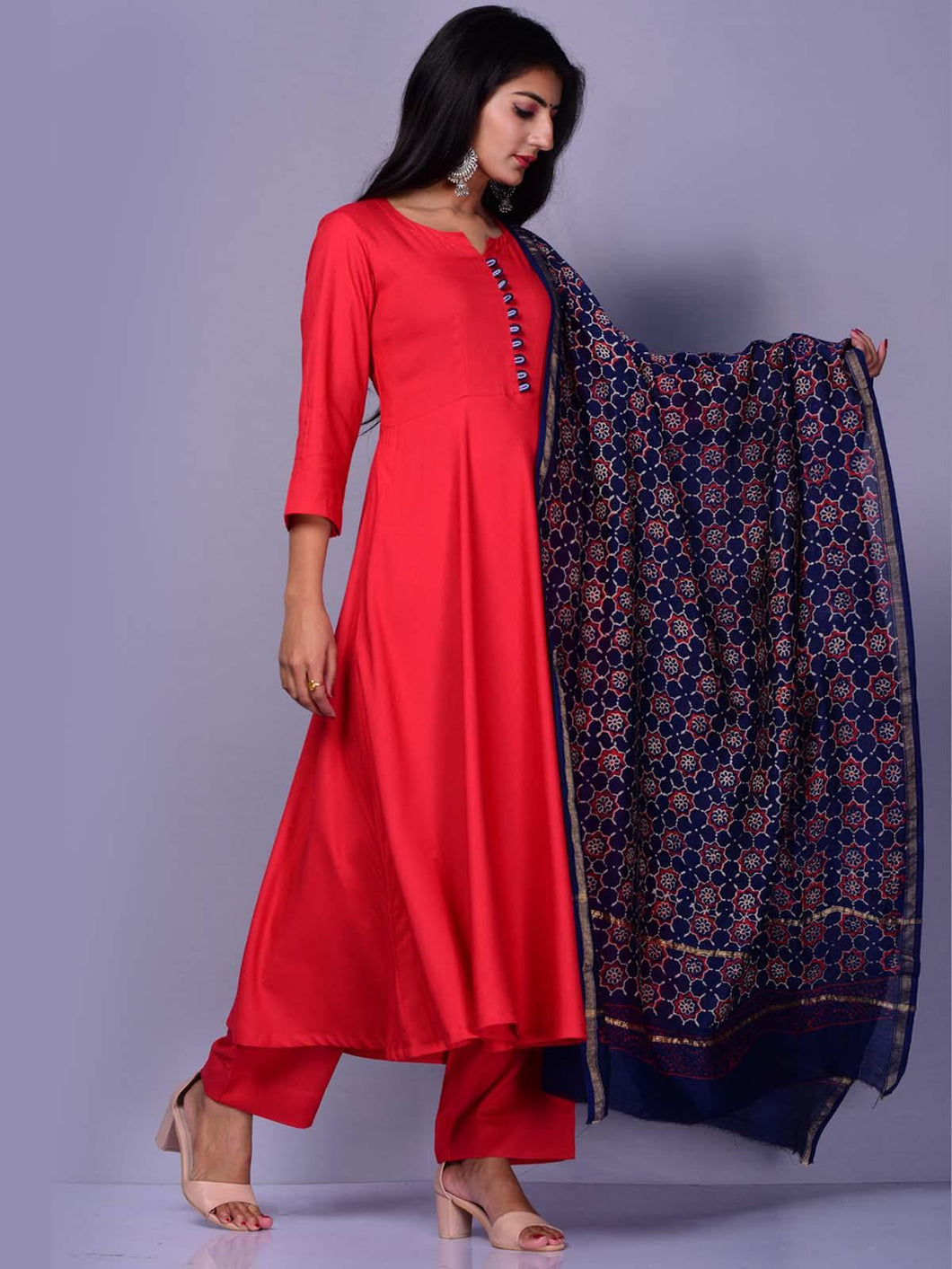 Red Palazzo Set with Block Print Dupatta - The Wedding Brigade