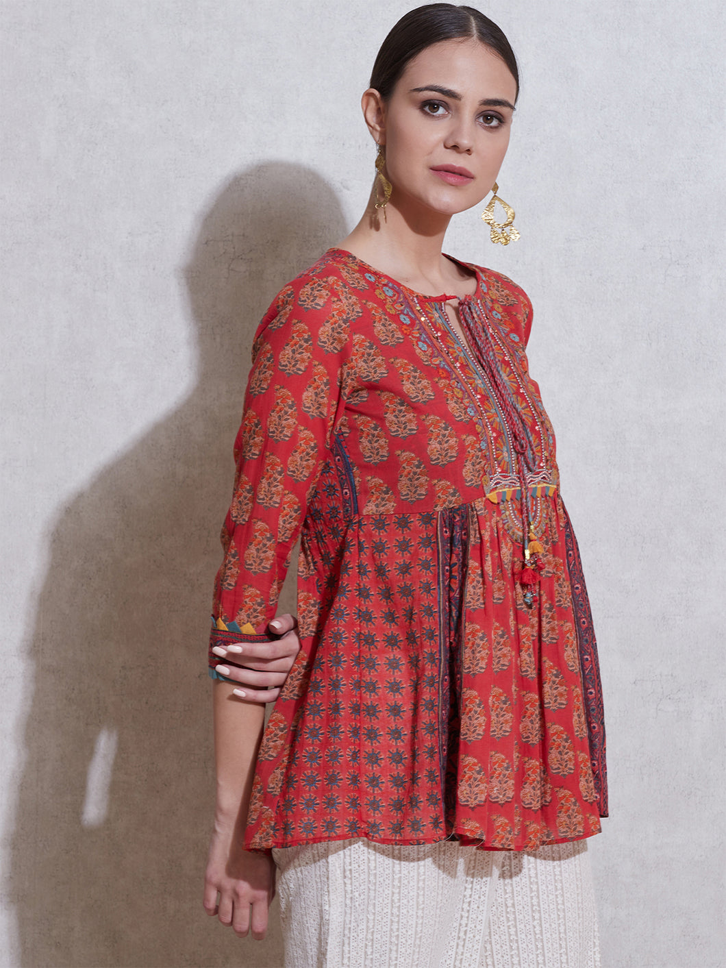 Red Printed Kurta with Embroidered Yoke