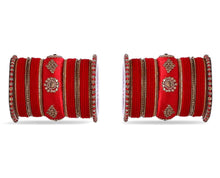 Load image into Gallery viewer, Red Royal Set of Velvet & Silk Thread Bangles - The Wedding Brigade