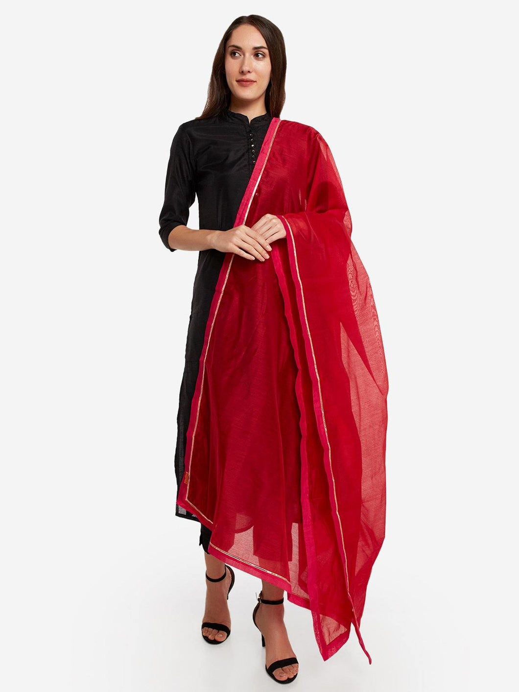 Red Solid Dupatta