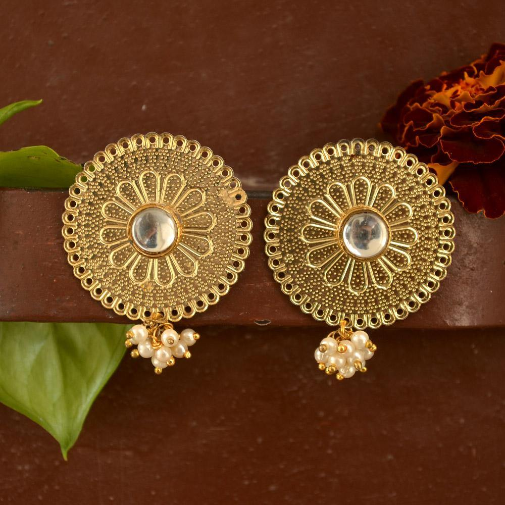 Round Kundan Earring - The Wedding Brigade