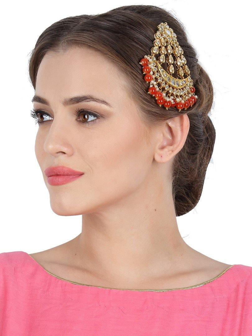 Royal Kundan Paasa with Orange Beads
