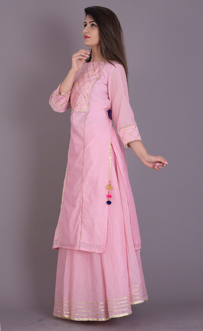 Powder Pink Gota Kurta and Flared Skirt Set