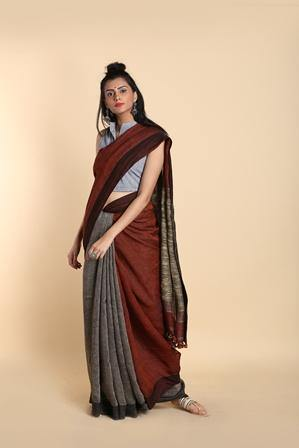 Rust and Grey Color Block Saree