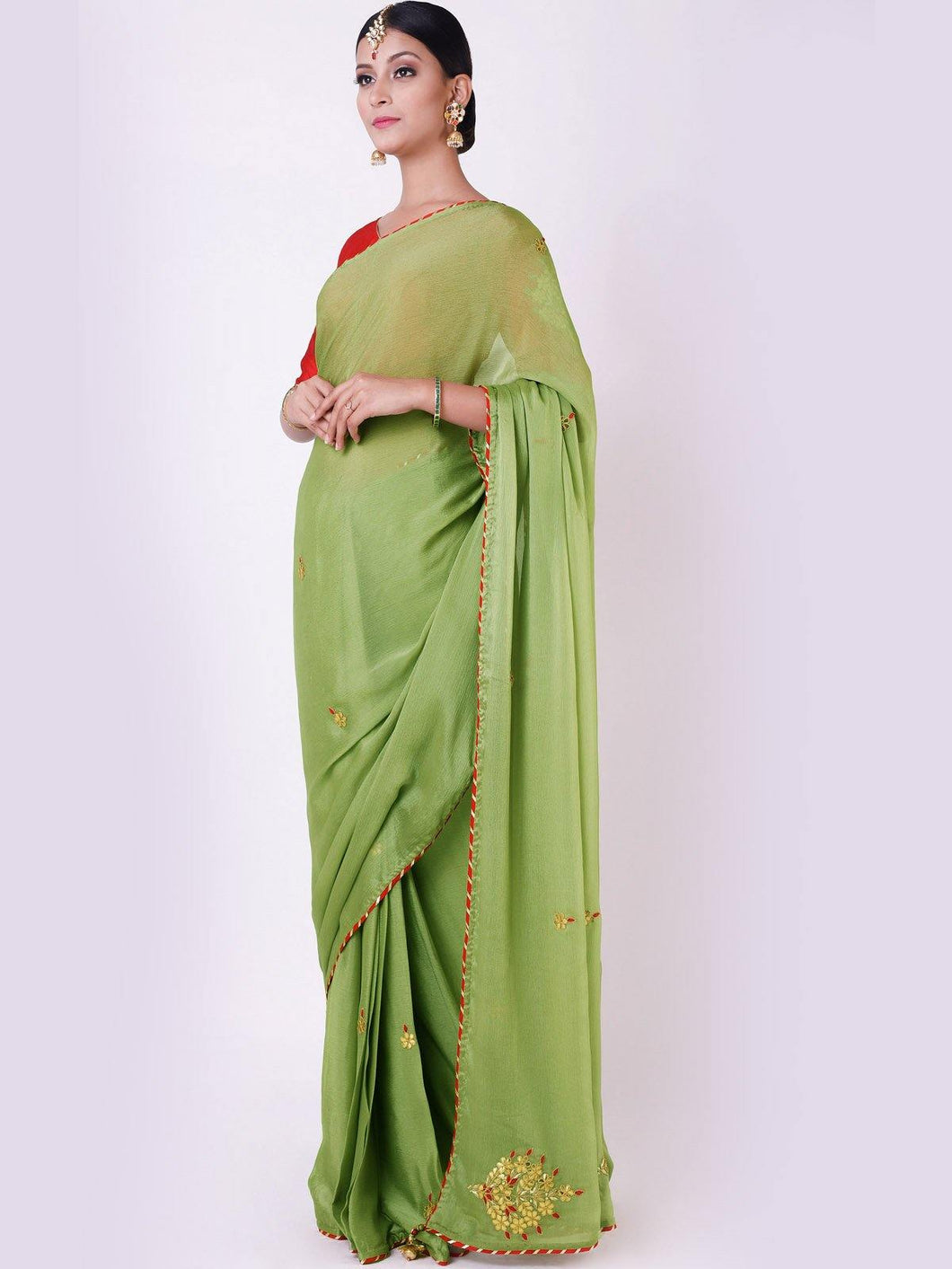 Sage Green Gota Patti Saree with Red Unstitched Blouse
