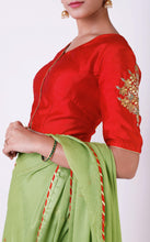 Load image into Gallery viewer, Sage Green Gota Patti Saree with Red Unstitched Blouse