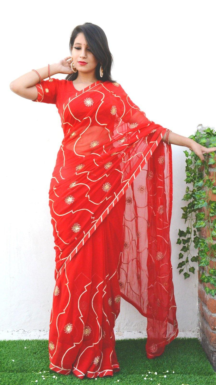 Scarlet Red Gota Saree with Unstitched Blouse