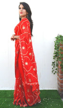 Load image into Gallery viewer, Scarlet Red Gota Saree with Unstitched Blouse
