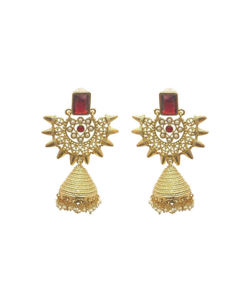 Scarlet Rivet Jhumka Earrings - The Wedding Brigade