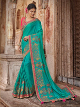 Load image into Gallery viewer, Sea Green Solid Embroidery Saree