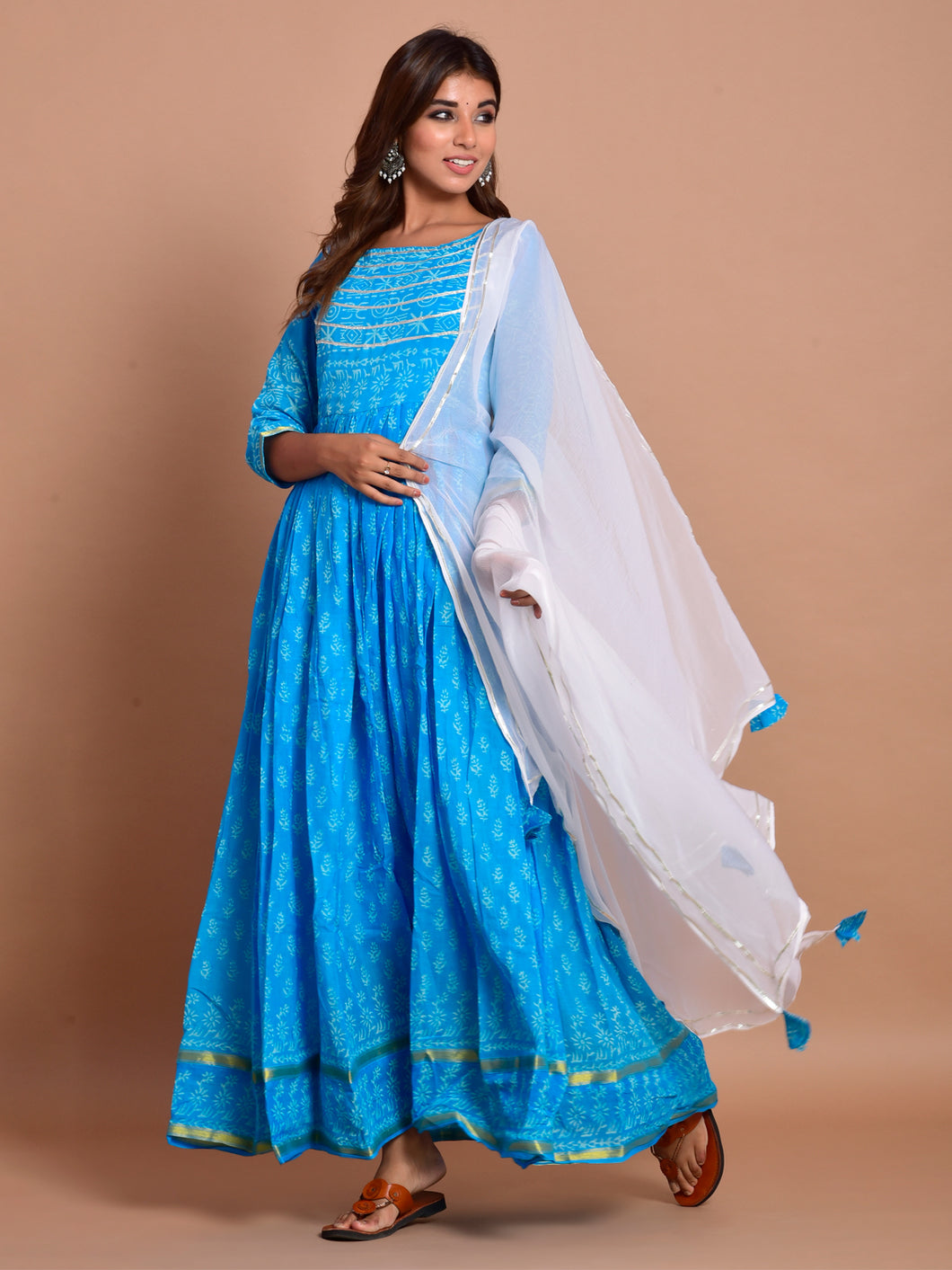 Sky Blue Hand Block Anarkali Set