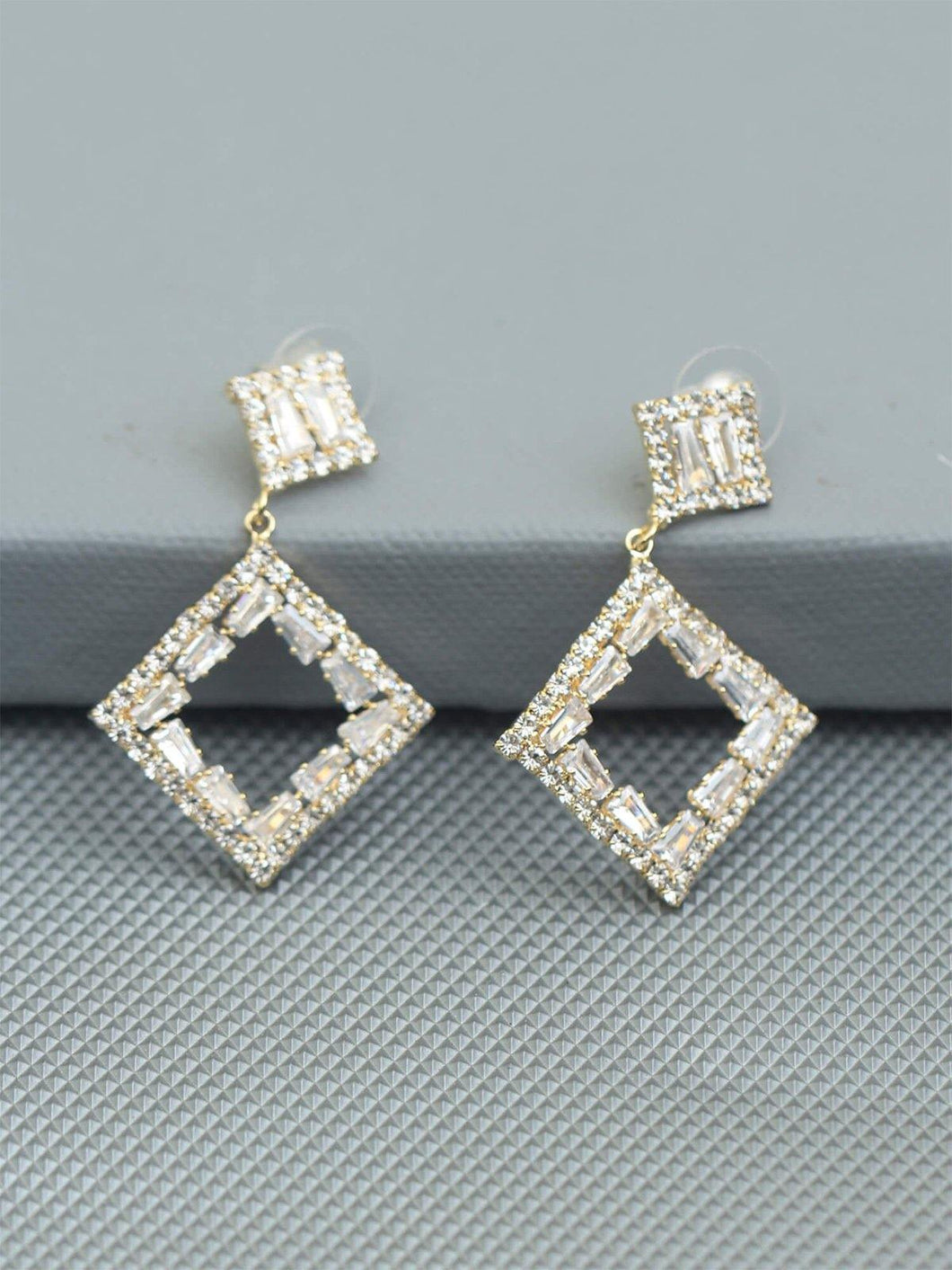 Square Shaped Drop Earrings - The Wedding Brigade