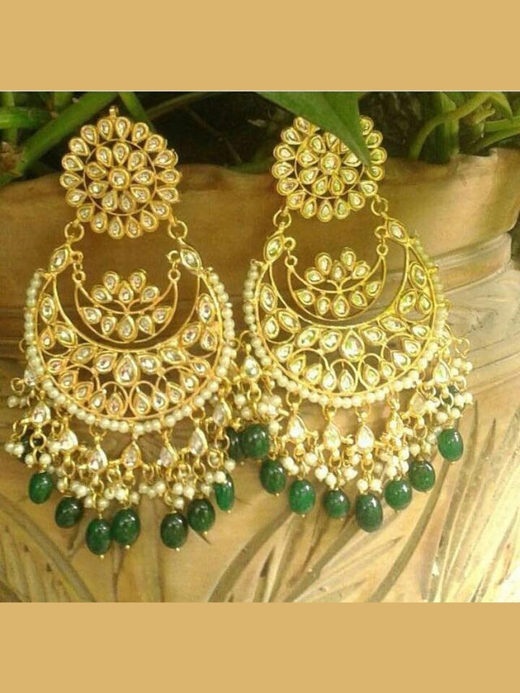 Statement Kundan and emerald beads chandbali