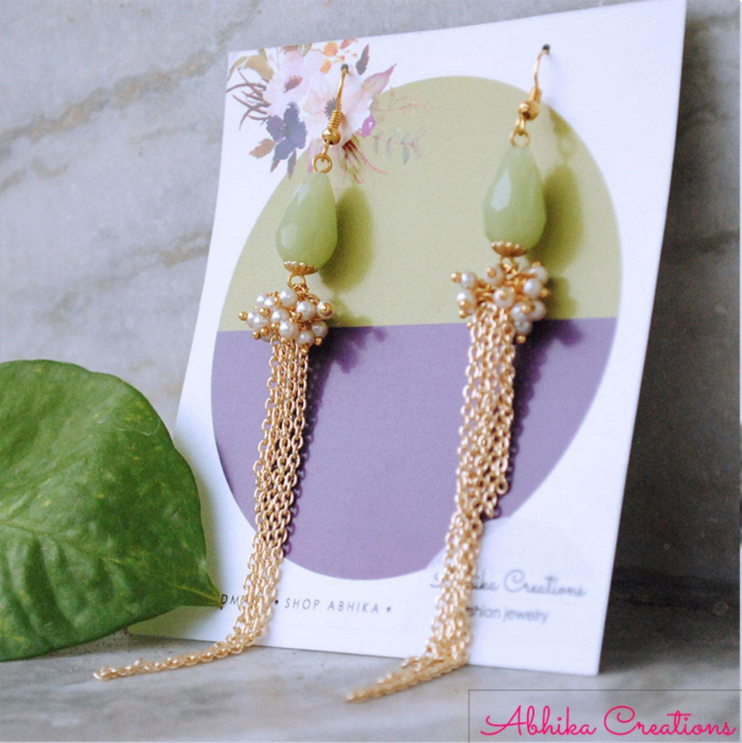 The Green Cascade Earrings - The Wedding Brigade