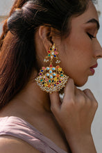 Load image into Gallery viewer, The Navratan Kundan Polki Earrings
