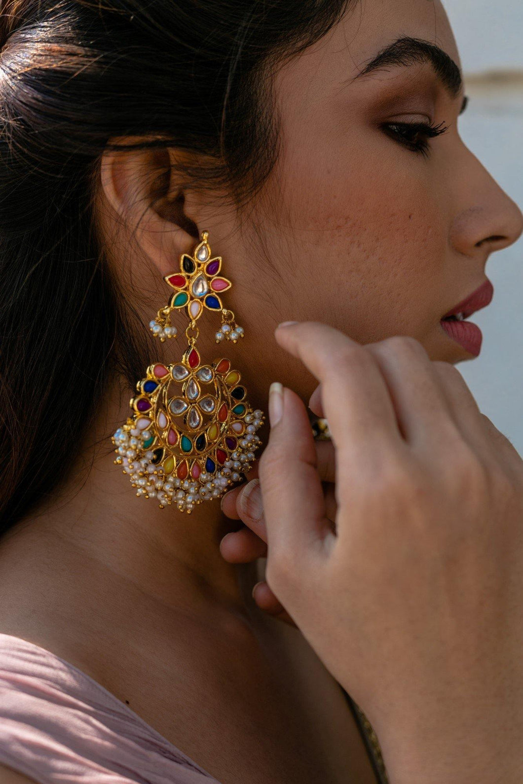 The Navratan Kundan Polki Earrings