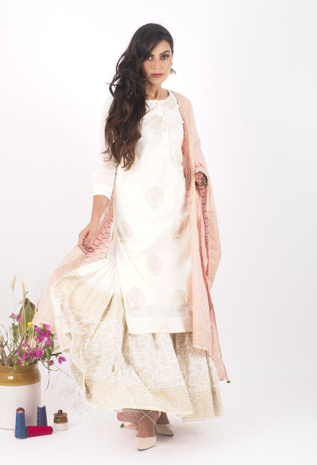 The Taj Hand Block Printed Sharara Set