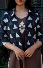 Load image into Gallery viewer, Triangle Print Jacket with Brown Embroidered Tunic