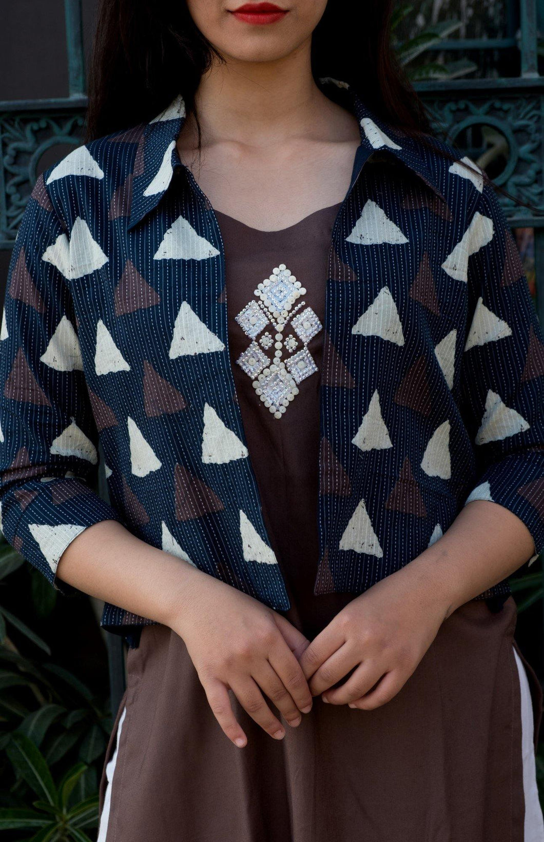Triangle Print Jacket with Brown Embroidered Tunic