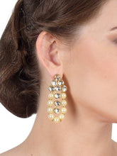 Load image into Gallery viewer, Triple Layered Pearl and Kundan Neckpiece with Earrings