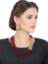 Load image into Gallery viewer, Triple Layered Stone and Kundan Neckpiece with Earrings