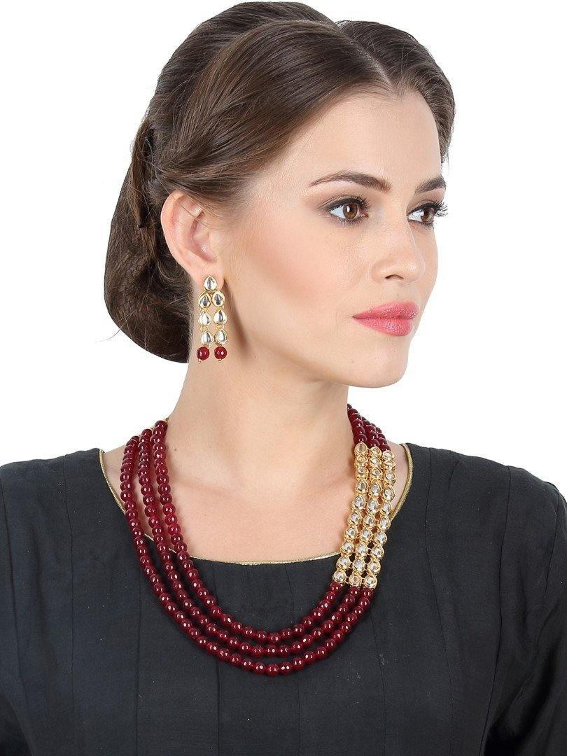 Triple Layered Stone and Kundan Neckpiece with Earrings