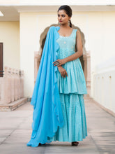 Load image into Gallery viewer, Turquoise Blue Hand Block Kurta Sharara Set