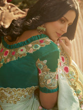 Load image into Gallery viewer, Turquoise Embellished Saree